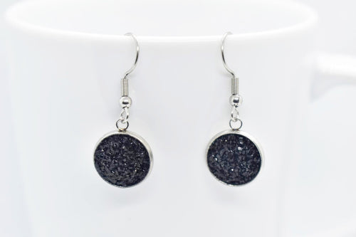 FAUX DRUZY PENDANT EARRINGS - BLACK - Handmade Creations by Liz