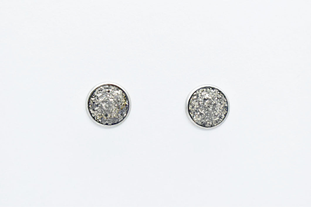 FAUX DRUZY STUD EARRINGS - STEEL - Handmade Creations by Liz