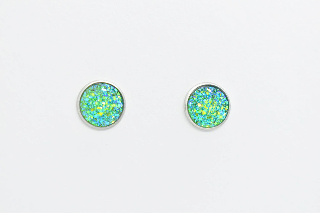 FAUX DRUZY STUD EARRINGS - GREEN AND TURQUOISE - Handmade Creations by Liz