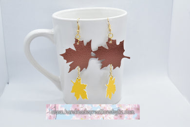 FAUX LEATHER EARRINGS - COPPER MAPLE AND YELLOW LEAVES - Handmade Creations by Liz