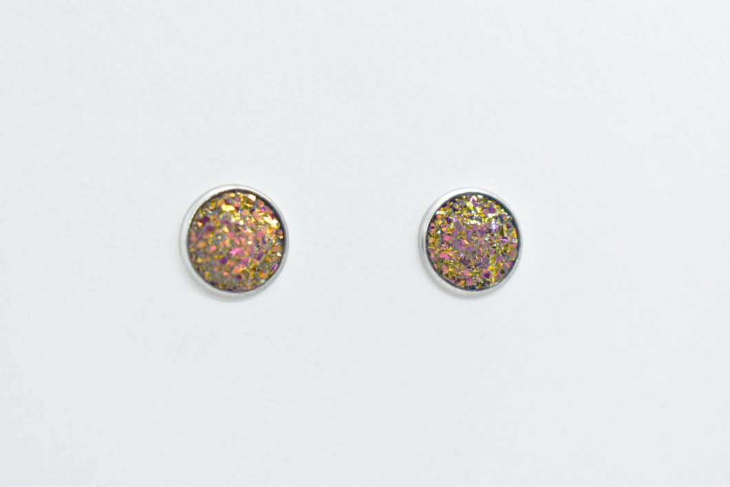 FAUX DRUZY STUD EARRINGS - YELLOW AND PINK - Handmade Creations by Liz