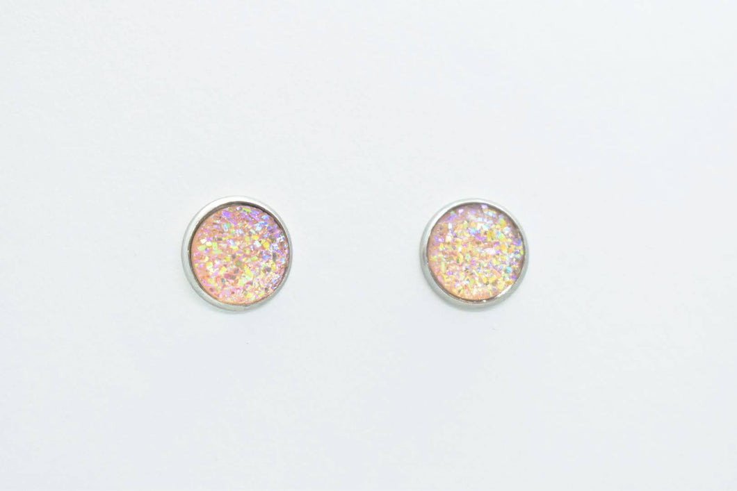 FAUX DRUZY STUD EARRINGS - PEARL PINK - Handmade Creations by Liz