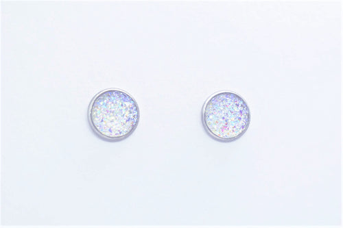 FAUX DRUZY STUD EARRINGS - WHITE - Handmade Creations by Liz