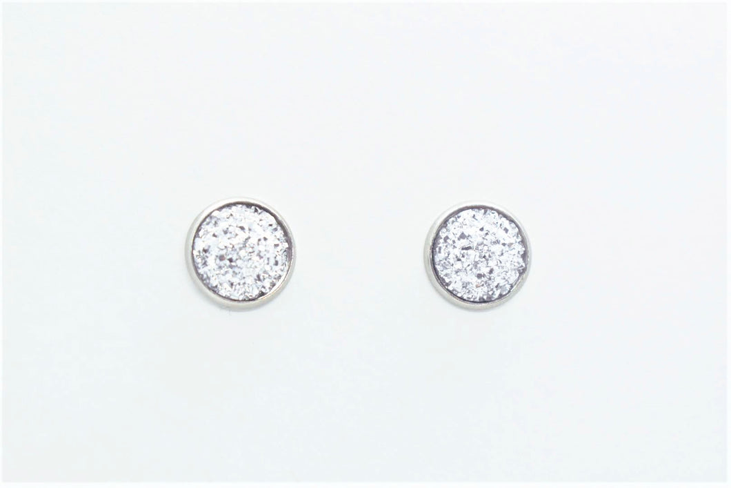FAUX DRUZY STUD EARRINGS - SILVER - Handmade Creations by Liz