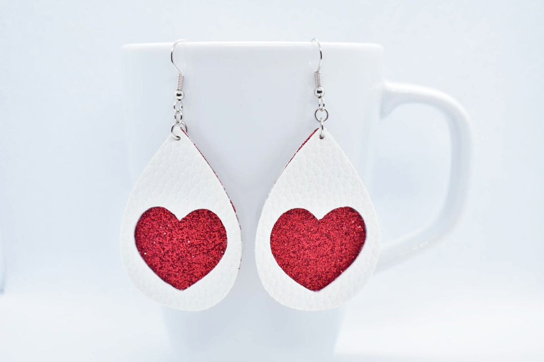 FAUX LEATHER EARRINGS - WHITE HEART AND RED SHIMMER - Handmade Creations by Liz