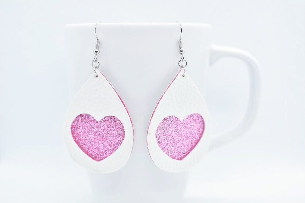 FAUX LEATHER EARRINGS  - WHITE HEART AND PINK SHIMMER - Handmade Creations by Liz