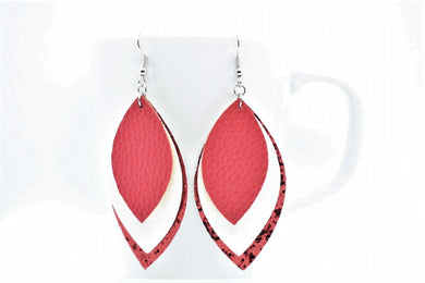 FAUX LEATHER EARRINGS - RED, WHITE, AND RED GLITTER - Handmade Creations by Liz