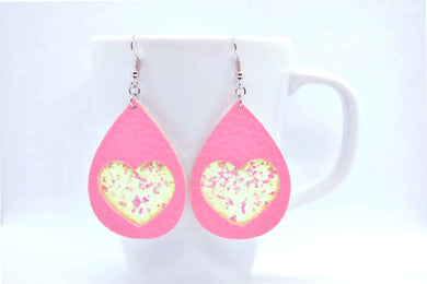 FAUX LEATHER EARRINGS - PINK HEART AND WHITE GLITTER - Handmade Creations by Liz