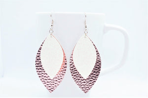 FAUX LEATHER EARRINGS - WHITE SHIMMER AND METALLIC PINK - Handmade Creations by Liz