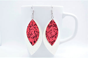 FAUX LEATHER EARRINGS  - RED GLITTER AND WHITE SHIMMER - Handmade Creations by Liz