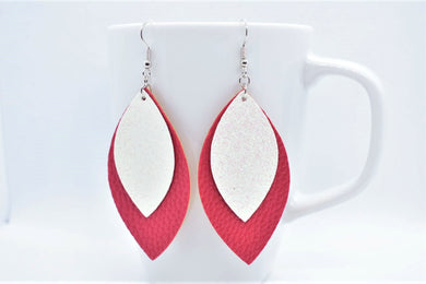 FAUX LEATHER EARRINGS - WHITE SHIMMER AND RED - Handmade Creations by Liz