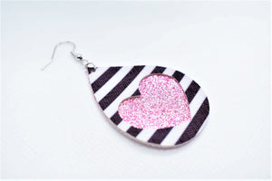 BLACK AND WHITE STRIPES HEART AND PINK SHIMMER FAUX LEATHER EARRINGS - TEARDROP - Handmade Creations by Liz