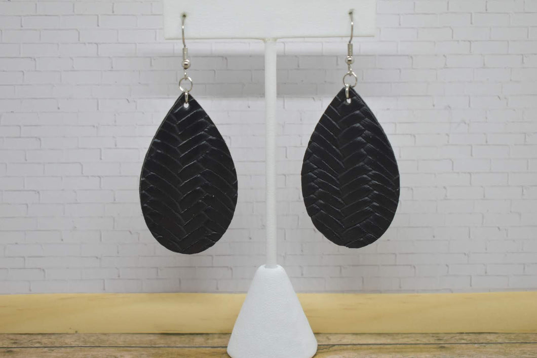 BLACK BRAIDED FAUX LEATHER EARRINGS - TEARDROP