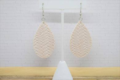 LATTE BRAIDED FAUX LEATHER EARRINGS - TEARDROP