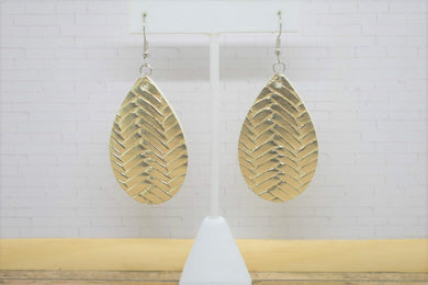 GOLD BRAIDED FAUX LEATHER EARRINGS - TEARDROP