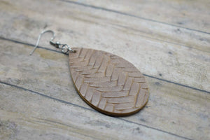 BROWN BRAIDED FAUX LEATHER EARRINGS - TEARDROP