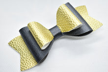 Load image into Gallery viewer, GOLD AND BLACK FAUX LEATHER BOW - Handmade Creations by Liz