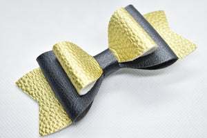GOLD AND BLACK FAUX LEATHER BOW - Handmade Creations by Liz