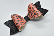 Load image into Gallery viewer, HALLOWEEN PATTERN A FAUX LEATHER BOW - Handmade Creations by Liz