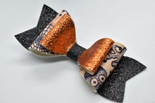 Load image into Gallery viewer, HALLOWEEN PATTERN B FAUX LEATHER BOW - Handmade Creations by Liz