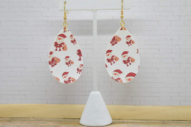 SANTA FAUX LEATHER EARRINGS - TEARDROP