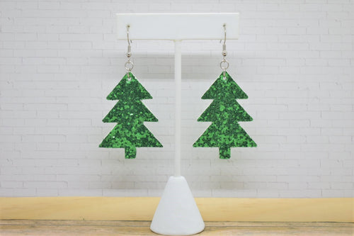 GREEN GLITTER CHRISTMAS TREE - FAUX LEATHER EARRINGS
