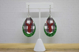 RED GLITTER DEER ON WHITE BUFFALO CHECK AND GREEN GLITTER FAUX LEATHER EARRINGS - TEARDROP