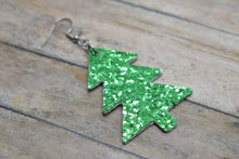 Load image into Gallery viewer, GREEN GLITTER CHRISTMAS TREE - FAUX LEATHER EARRINGS