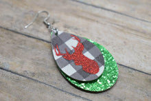 Load image into Gallery viewer, RED GLITTER DEER ON WHITE BUFFALO CHECK AND GREEN GLITTER FAUX LEATHER EARRINGS - TEARDROP