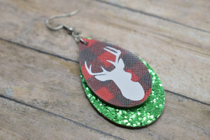 WHITE DEER ON RED BUFFALO CHECK AND GREEN GLITTER FAUX LEATHER EARRINGS - TEARDROP
