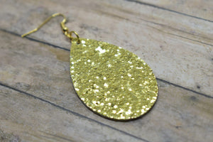 GOLD GLITTER FAUX LEATHER EARRINGS - TEARDROP