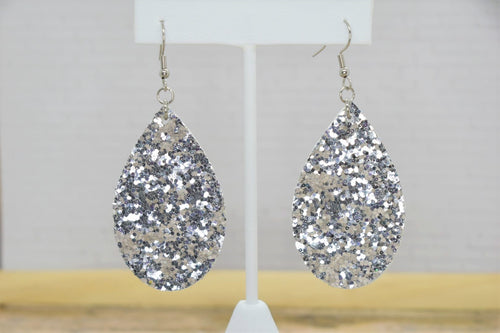 SILVER GLITTER FAUX LEATHER EARRINGS - TEARDROP
