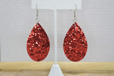 RED GLITTER FAUX LEATHER EARRINGS - TEARDROP