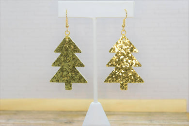 GOLD GLITTER FAUX LEATHER EARRINGS - CHRISTMAS TREE