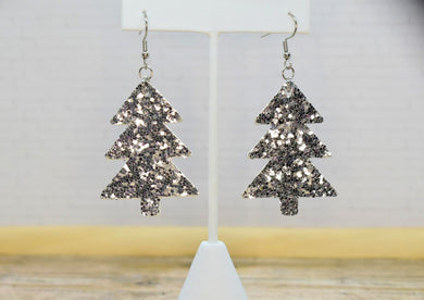 SILVER GLITTER FAUX LEATHER EARRINGS - CHRISTMAS TREE