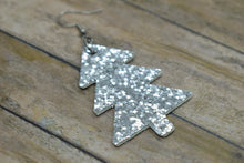 Load image into Gallery viewer, SILVER GLITTER FAUX LEATHER EARRINGS - CHRISTMAS TREE