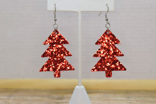 RED GLITTER FAUX LEATHER EARRINGS - CHRISTMAS TREE