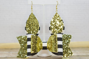 GOLD GLITTER AND BLACK AND WHITE STRIPES MOMMY AND ME SET