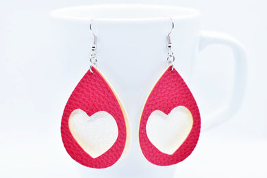 FAUX LEATHER EARRINGS - RED HEART AND WHITE SHIMMER - Handmade Creations by Liz