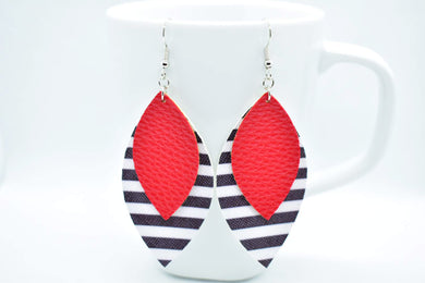 FAUX LEATHER EARRINGS - RED AND BLACK AND WHITE STRIPES - Handmade Creations by Liz