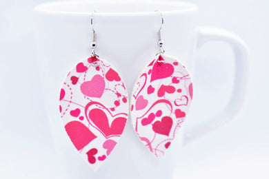 FAUX LEATHER EARRINGS - MOVING HEARTS - Handmade Creations by Liz