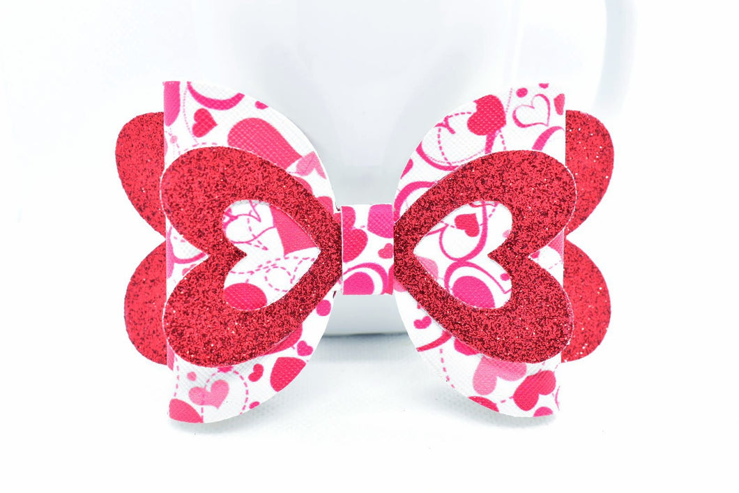 RED SHIMMER AND MOVING HEARTS FAUX LEATHER BOW - Handmade Creations by Liz