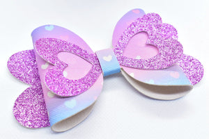 LILAC SHIMMER AND BLUE AND PINK HEARTS FAUX LEATHER BOW - Handmade Creations by Liz