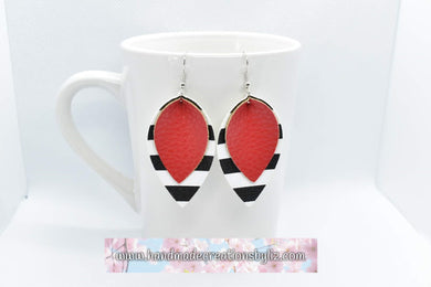 RED WITH BLACK AND WHITE STRIPES FAUX LEATHER EARRINGS - MAGNOLIA - Handmade Creations by Liz