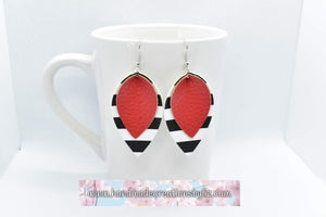 FAUX LEATHER PETAL EARRINGS - RED AND STRIPES WITH CHARM - Handmade Creations by Liz