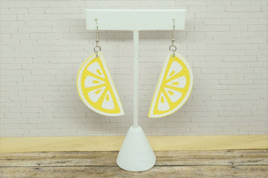 LEMON FAUX LEATHER EARRINGS - Handmade Creations by Liz
