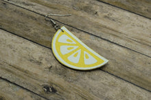 Load image into Gallery viewer, LEMON FAUX LEATHER EARRINGS - Handmade Creations by Liz