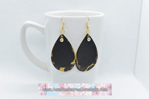 FAUX LEATHER TEARDROP EARRINGS - BLACK AND GOLD LEOPARD PRINT WITH CHARM - Handmade Creations by Liz