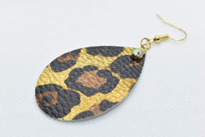 FAUX LEATHER TEARDROP EARRINGS - GOLD LEOPARD WITH CHARM - Handmade Creations by Liz