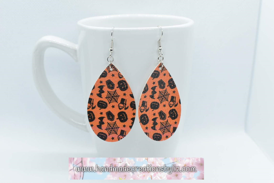 FAUX LEATHER EARRINGS - HALLOWEEN REAPER - Handmade Creations by Liz